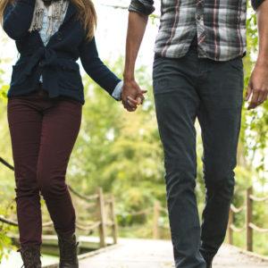 A couple walks in St. Louis Park's Westwood Hills Nature Center